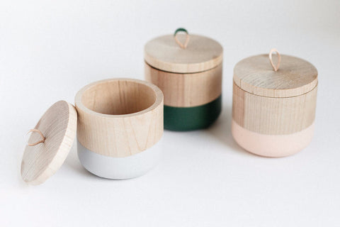 Color Dipped Wooden Canister