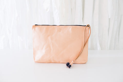 Large Clutch in Natural Vegetable Tanned Leather