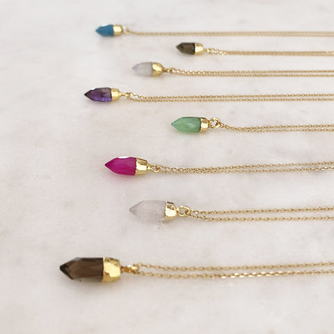 Kalinda - Mini Gemstone Point Necklace - Kurafuchi