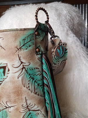 Large Bucket Bag Tan/Brown and Turquoise Feathers