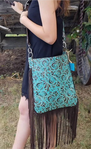 XLG Crossbody Sling, Florence Turquoise and Brown