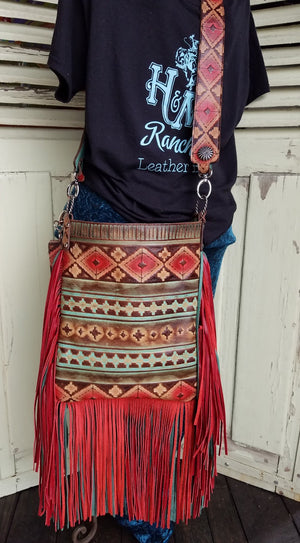 XLG Crossbody Sling, Navajo Red Double Fringe