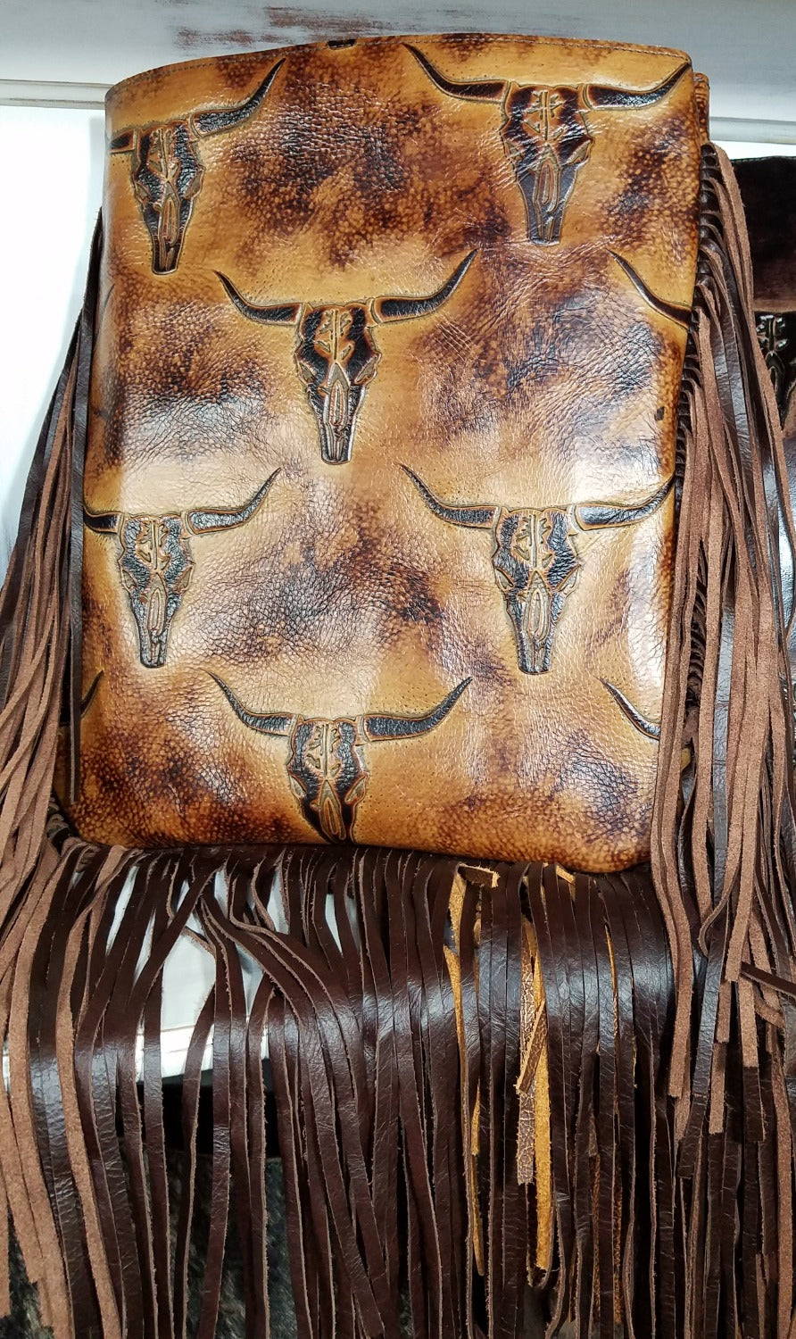XLG Crossbody Sling, Lonhorn Sepia with Fringe