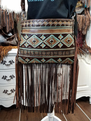 Half Pint Crossbody, Turquoise and Brown, Fringe