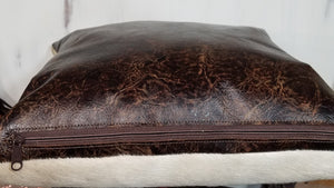 Pillow, Longhorn Steer Skull, Hair on/Brown Leather