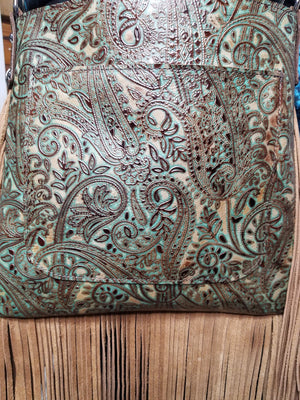 Mid Rise, Paisley Turquoise and Brown w/Fringe