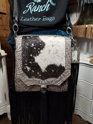 Saddle Bag, Mid Rise Black Metallic and Cowboy Tooled Grey