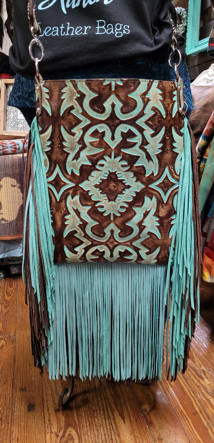 XLG Crossbody Sling, Boot Top Turquoise and brown, double fringe