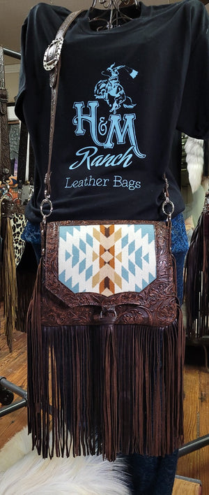 Saddle Bag, Half Pint Cowboy Tooled Leather