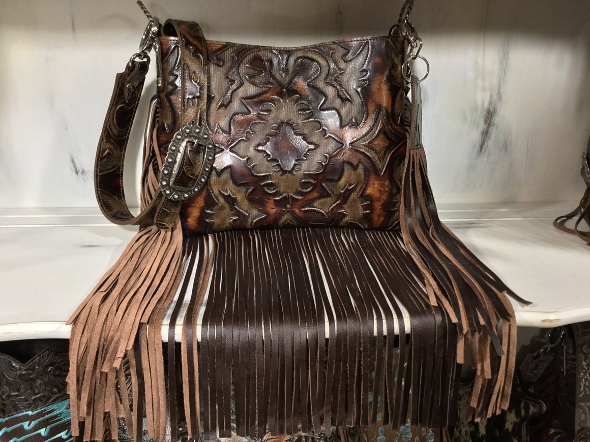 Half Pint Crossbody, Boot Top Brown, Fringe