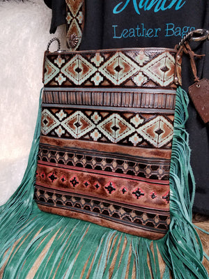 XLG Crossbody Sling, Navajo Tricolor Turquoise Fringe