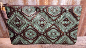 Bank Bag or Makeup Bag, Aztec Turquoise and Copper
