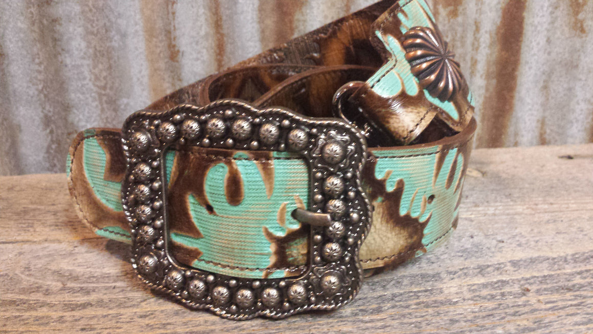 Crossbody Adjustable Leather Strap, Boot Turquoise and brown