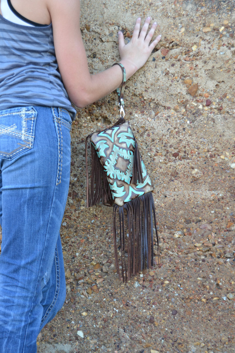 Wristlet, Boot Top Turquoise and Brown