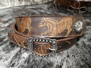 Crossbody Adjustable Leather Strap, Running Horses 1.5""