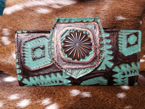 Leather Bifold Wallet, Aztec Copper and Turquoise
