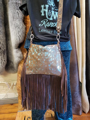 Hobo, Small Metallic Blue Cowhide with Crossbody Strap