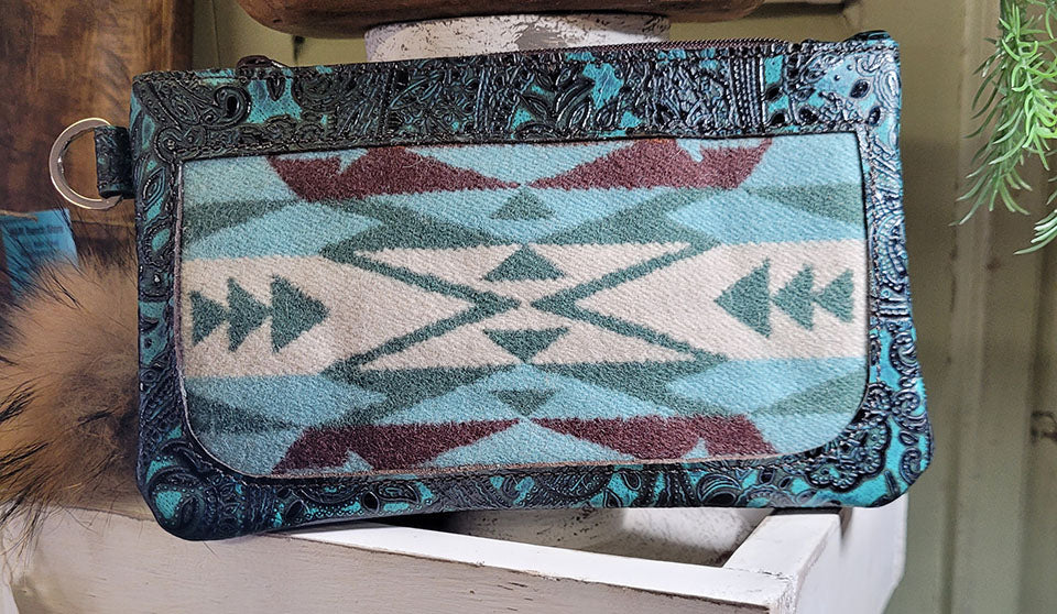 Wristlet, Aqua Paisley and Pendleton