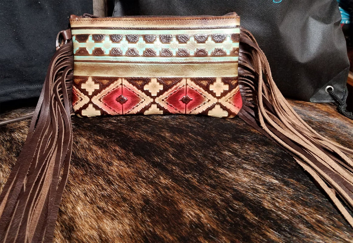 Wristlet, Navajo Red With Fringe