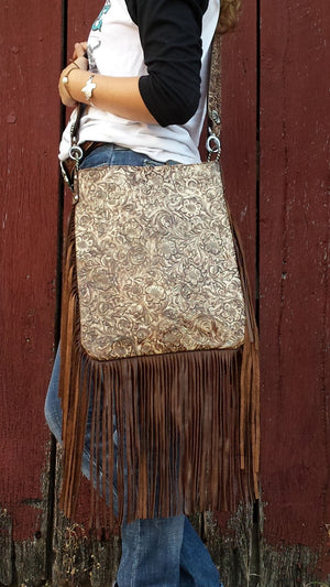 XLG Crossbody Sling, Western Floral Cream and Brown