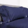 Euro Split King Starter Pack in Navy, Sateen Cotton (includes 2 twin XL bases + 2 twin XL zip-on sheets, 1 king New-Way Duvet Cover, 2 king pillowcases)