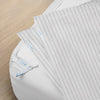 Premium Split King Starter Pack in Pinstripe, Sateen Cotton (includes 2 twin XL base + 4 twin XL zip-on sheets)