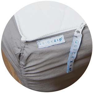 The Quickzip fitted bed sheet zipped conveniently in place