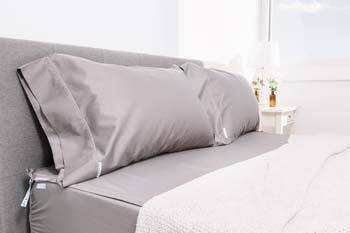 King size bed with gray QuickZip Sheets