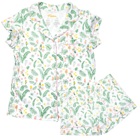 Hawaii women Pajamas - Parrots and Hawaiian leaves family pajamas - Petidoux