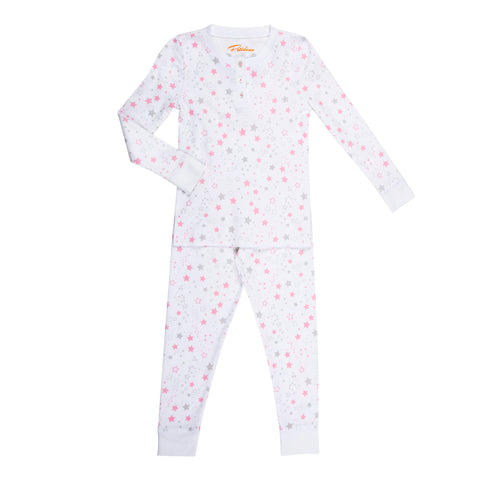 pink star print girls long sleeve pajama set
