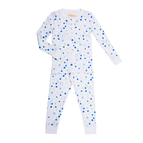 blue star print boys long sleeve pajamas