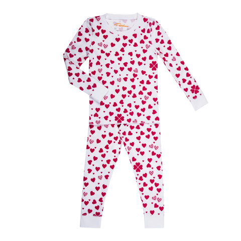 pink red heart print girls long sleeve pajama set