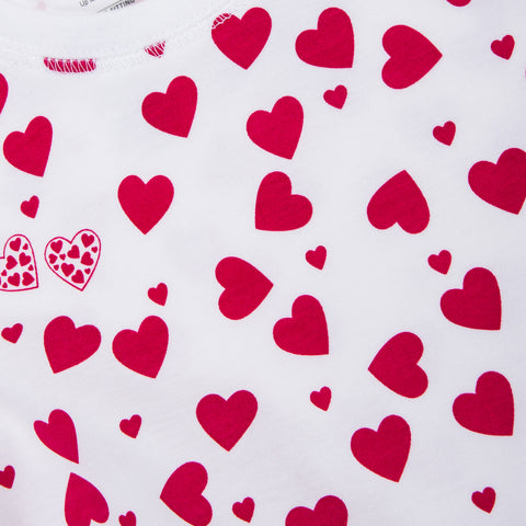 Lots of Hearts: Onesie+hat Pajamas Set