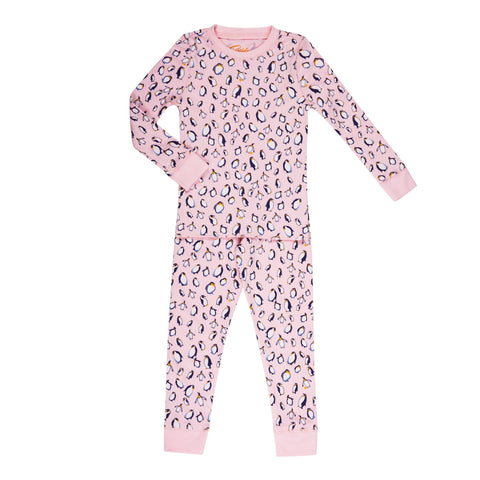 pink penguin print girls long sleeve pajama set
