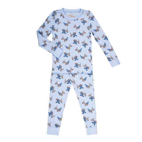Blue puppy print boys winter pajama set