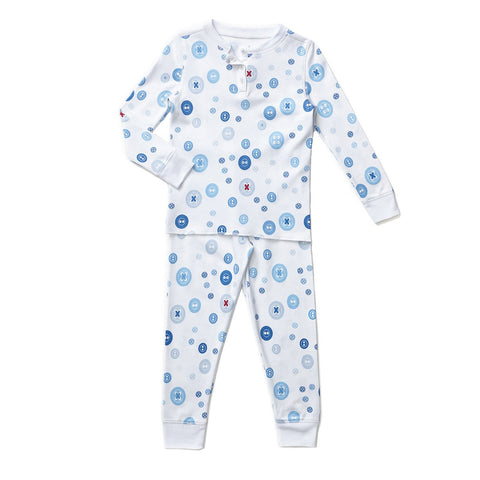 blue button print childrens long sleeve pajamas