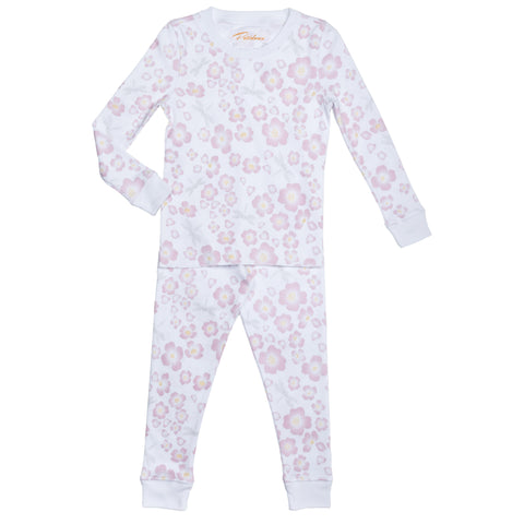 pink dogwood dragonflies print girls long sleeve pajama set