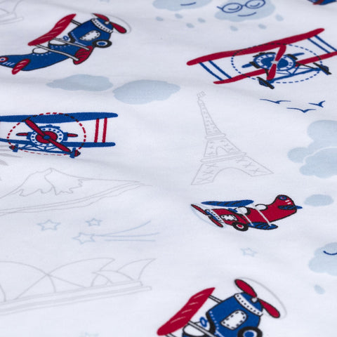 Airplane Print Boys Summer Cotton Pajama Set