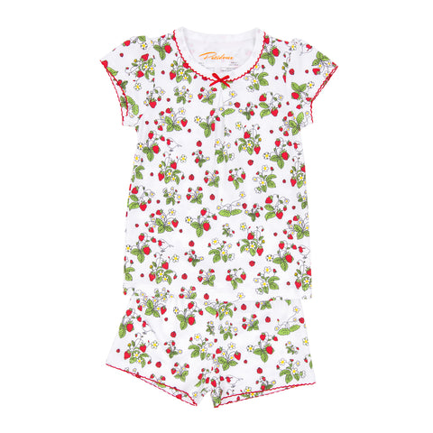 Strawberries jams print girls short sleeve summer set