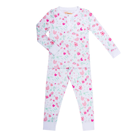 pink flower butterfly print girls long sleeve pajama set
