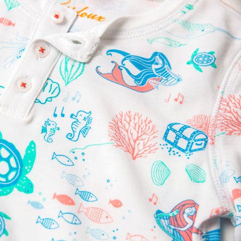 Mermaids Symphony print girls long pajamas, sustainable fashion, mermaids, jellyfish, pjs, coral, sealife, sea design, seahorse, treasure chest