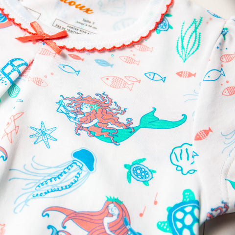 Mermaids Symphony, Pink and blue mermaids and fish,  short summer pajamas, Summer set, 100% Peruvian Pima cotton, sustainable fashion, living coral, pantone color of the year 2019, girls, bows, summer set