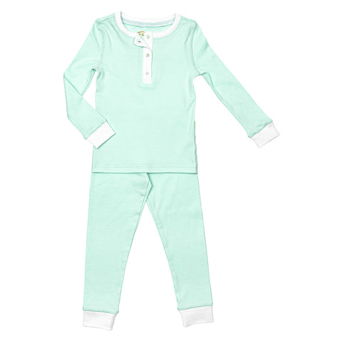 mint green toddler pajamas, 100% cotton Petidoux