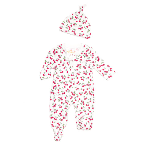 Vintage Cherries Onesie +hat Pajamas set
