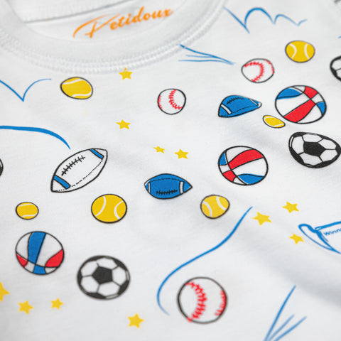 sports tennis football soccer tennis rugby summer boy pajamas Petidoux 100% Peruvian Pima cotton, chemical-free