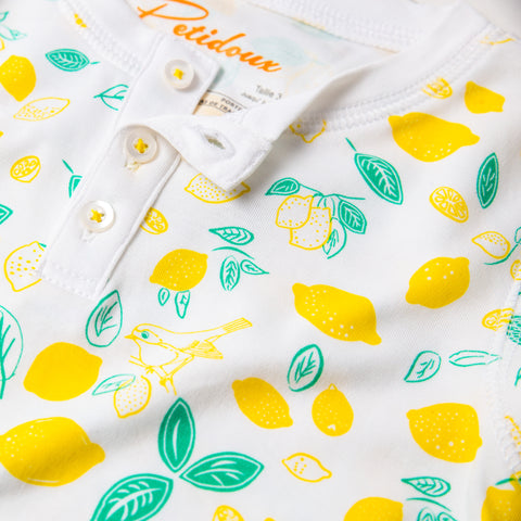 Sicilian Lemon print girls long sleeve pajamas