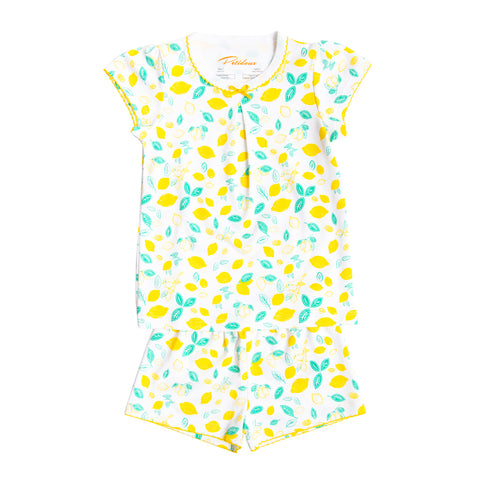 Sicilian Lemon print girls short sleeve summer set bow short sleeve pima cotton petidoux