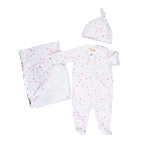 Pink Star Baby Pj Set - Baby Girl Christmas Pajamas
