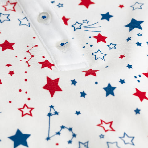 red white blue star print childrens long sleeve pajama set