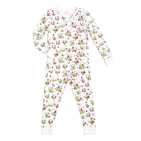 Strawberries jams print girls long pajamas summer 2019 green garden pjs kids france strawberry shortcake